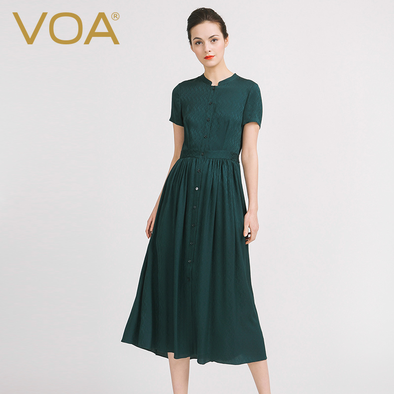 VOA Plus Size Silk Shirt Dresses Women Peacock Green Casual Swing Long Dress Tunic Short Sleeve Fall vestidos sukienki A6910