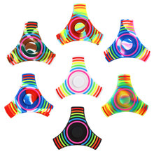 EDC Fidget Spinner Rainbow Tri Spiner Toys Hand Spinner Silicone ADHD Adult Stress Relief Toys Action