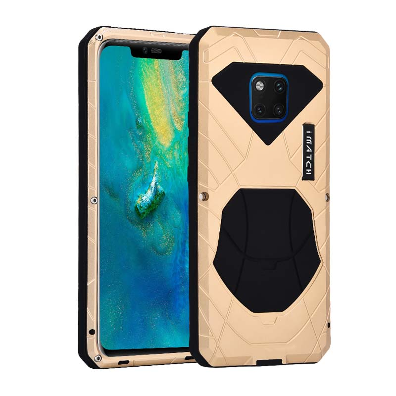 IMATCH Daily Life Waterproof Case Luxury Metal Silicone Cover 360 Full Protection Case Cover For Huawei Mate 20 Pro P20 JS0036