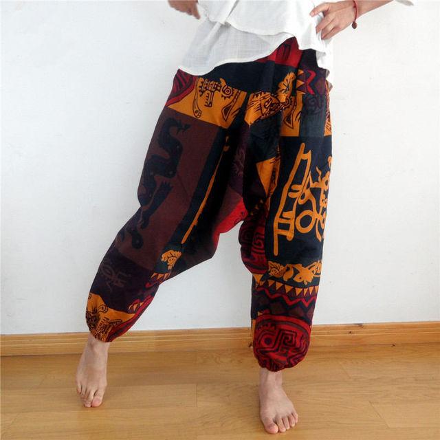 Mens Womens Gypsy Hippie Aladdin Baggy Harem Pants Hammer Trousers Boho Casual Pants Cross Pants 3