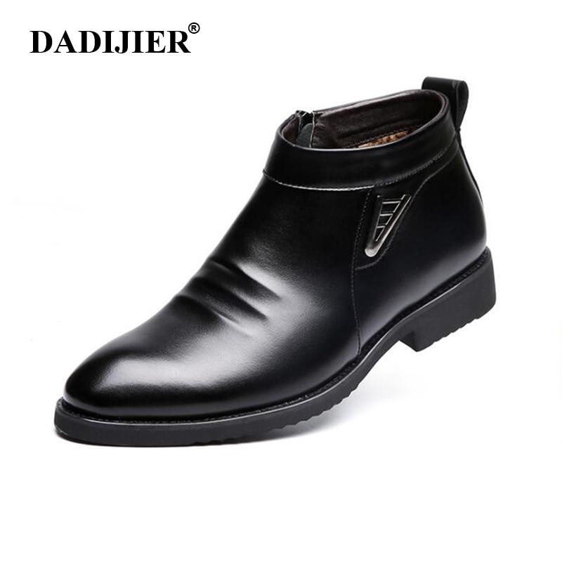 DADIJIER 2018 Autumn Winter Vlevet Retro Men Boots Comfortable Zipper Brand Casual Shoes Split Leather Snow Boots Shoes ST91