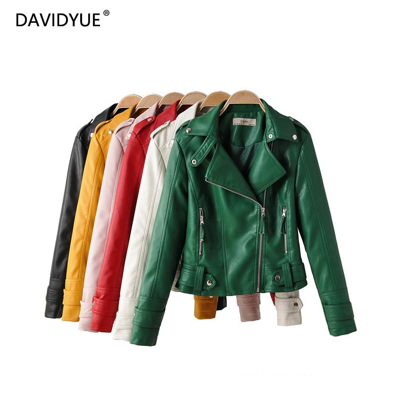 2019 green biker jacket women trun down collar red leather jacket modis black PU casual coat streetwear fashion clothes fall