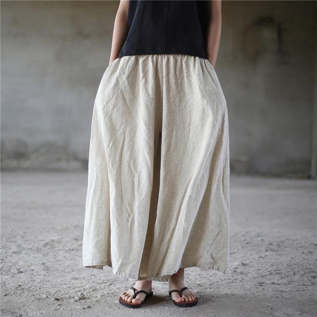 0139cd5fc64 ORIGOODS Linen Plus size Wide leg Pants Women Vintage Elastic waist Pants  Skirt Linen Solid Boho Wide leg Trousers Women D005
