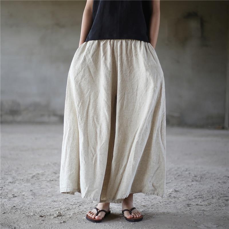 ORIGOODS Linen Plus size   Wide     leg     Pants   Women Vintage Elastic waist   Pants   Skirt Linen Solid Boho   Wide     leg   Trousers Women D005