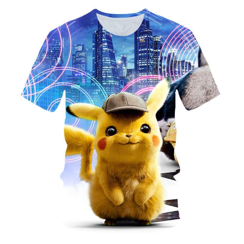 Детская футболка с 3D принтом «Покемон детектива Пикачу» модная летняя футболка с короткими рукавами 2019 года топы, уличная детская футболка