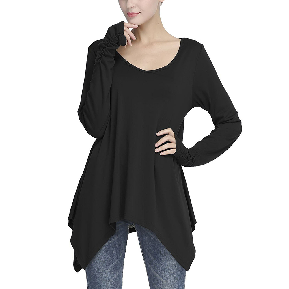 Autumn Women O-Neck T-Shirt Long Sleeve Irregular Casual Long T-shirts Femme Woman Tops Basic T-shirt