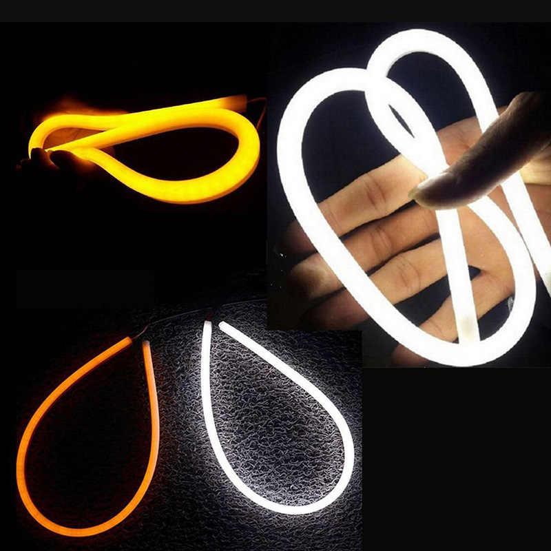 TPTOB Angel Eyes Turn SignalLights  LED Car Styling Universial DRL Flexible Tube Strip Daytime Running White Yellow