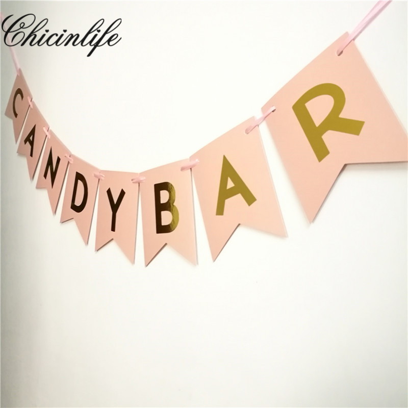 1Set candybar happy birthday Bunting Banner baby party decorations Photo Booth Props Garland Bridal Shower wedding decoration