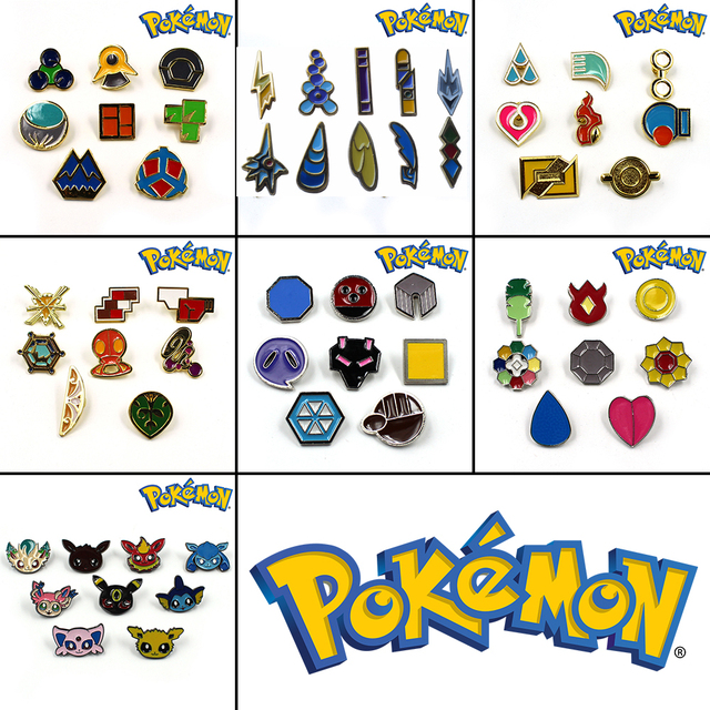 Pokemon Gym Badges  Pins Brooches Box Set Gift Collection