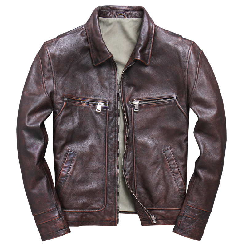 Vintage Mens Genuine Leather Jackets And Coat Motorcycle Real Cow Cowhide Casual Brown Jacket Jaqueta De Couro Plus Size 4XL