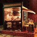 Artesanal Kit Modelo de Brinquedo Casa de Sonho de Montar Caixa de Sala de Casa Em Miniatura Casa De Bonecas DIY Casa de Boneca de Presente Menina Presente Bar Café