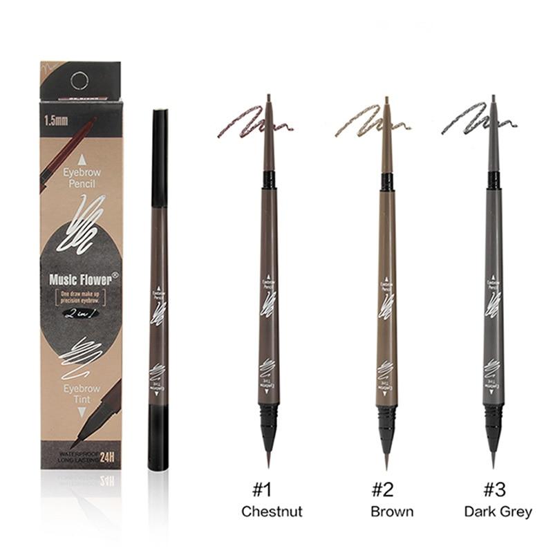 Music Flower Waterproof Eyebrow Pencil Tattoo Eyebrow Pen Sketch Liquid Eyebrown Soap Brows Enhancer Eyelashes Makeup Brushes 1