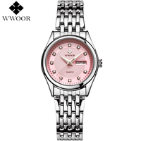 WWOOR Brand Luxury Day Week Waterproof Quartz Watch Women Watches Ladies Silver Bracelet Casual Wristwatch Clock