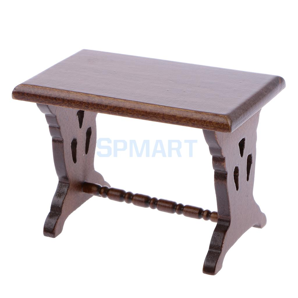 Dollhouse Miniature Dark Oak Wooden Lounge Living Dining Room Kitchen Side Table Fairy Gaden Bench