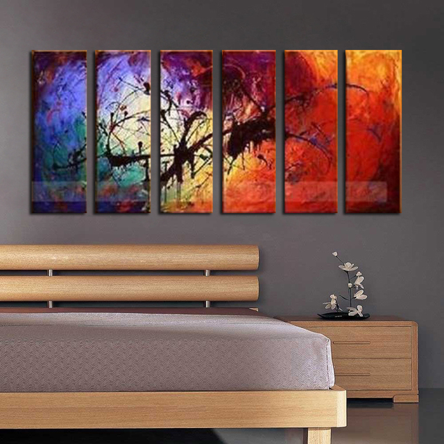Large 6pc Modern Abstract Asian Art Oil Painting Wall Decor Canvas