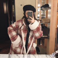 MISHOW 2019 autumn winter red plaid woolen coat new fashion causal women turndown collar thick coat MX18D6457