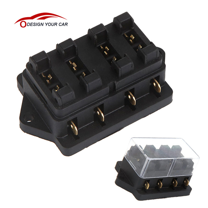 car style fuse box fuse holder car truck vehicle 4 way circuit automotive middle sized blade