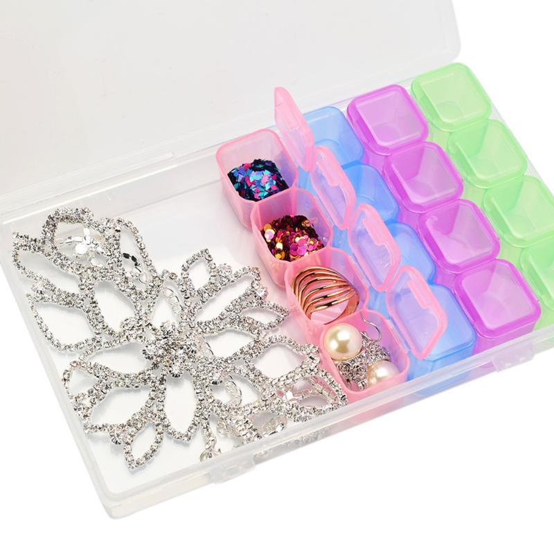 2 шт. 28 слотов прозрачного Пластик коробка для хранения Регулируемый Бусины шкатулка прозрачный Pill Планшеты Организатор Контейнеры