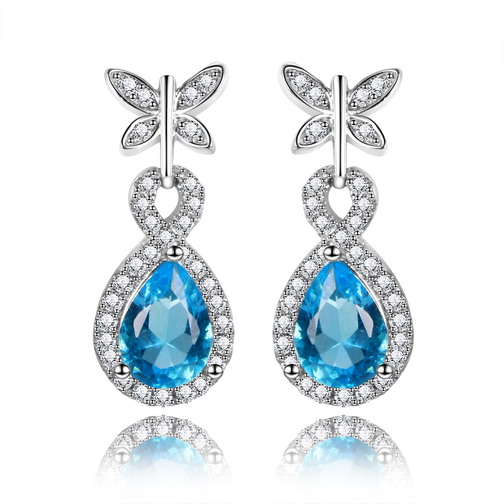 Whole Blue Gemstone Earrings For Women Pure 925 Sterling Silver Aquamarine Drop Fashion Christmas Jewelry Gift New