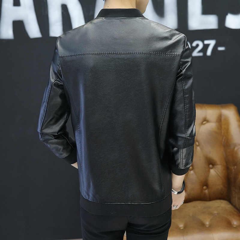 Молодежная куртка из искусственной кожи 2019 Весенняя модная повседневная мужская кожаная куртка облегающие кожаные куртки байкерская куртка с круглым вырезом пальто