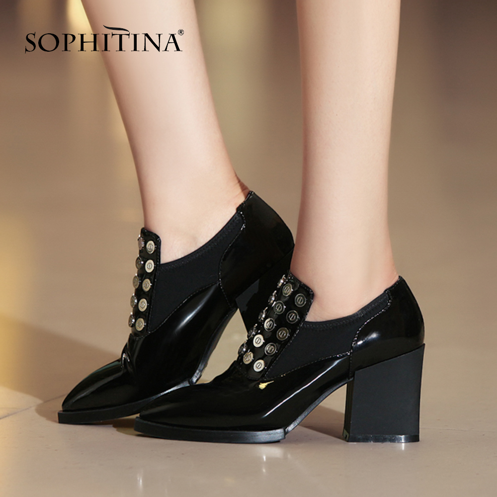 SOPHITINA New Fashion Bling Pumps Women s High Square Heel Cow Leather Party Slip On Shoes