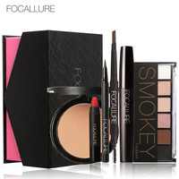 Focallure New Fashion Powder Nude Color Eyeshadow Eyebrow Eyeliner Mascara Lipstick Makeup Sets 6pcs Face Cosmetics