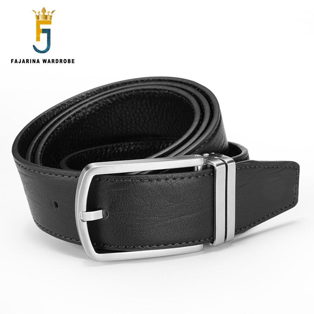 Fajarina calidad superior 100% genuino hombres correa de cuero sólido latón  oro Pasadores hebilla cinturones para hombres Vaqueros mens lufj519 cinturón ccb68617082c
