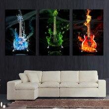 3 Stück Abstrakt die Flamme Gitarre HD Wand Bild Home Decor Kunstdruck Auf Leinwand Für Wohnzimmer Unframed