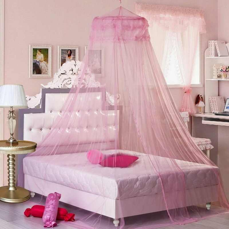 Urijk 1PC Pink Romantic Hung Dome Mosquito Net Bed Canopy Princess Moustiquaire Round Mosquito Nets for Bedroom Circular Curtain