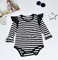 Baby girl ropa blanco y negro tira de Jimpsuit para Bebé Ropa de bebé mameluco Infantil de Algodón de Manga Larga