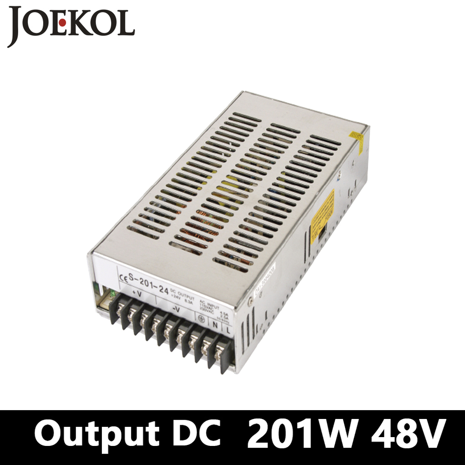 Switching Power Supply 201W 48v 4.2A,Single Output Ac-Dc Power Supply For Led Strip,AC110V/220V Transformer To DC 48V allishop 300w 48v 6 25a single output ac 110v 220v to dc 48v switching power supply unit for led strip light free shipping