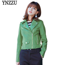 YNZZU High Quality 2018 Spring Women Faux Leather Jacket Short Green Ladies Slim PU Basic Jackets Female Coat Streetwear YO516