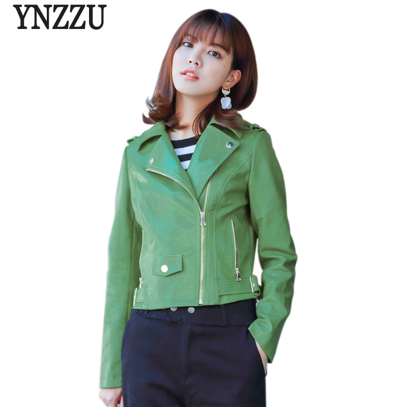 YNZZU High Quality 2018 Spring Women Faux   Leather   Jacket Short Green Ladies Slim PU Basic Jackets Female Coat Streetwear YO516