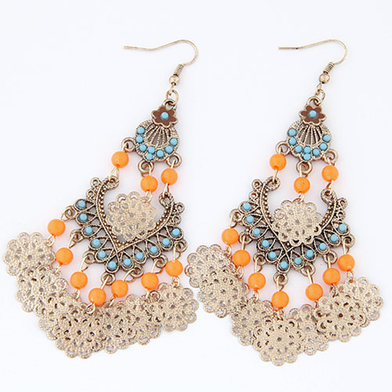 Korea Fashion Bohemian Elegan Drop Earrings Wanita Anting Panjang Manik-manik Satu Arah Bijoux Boucle D'oreille Pendante