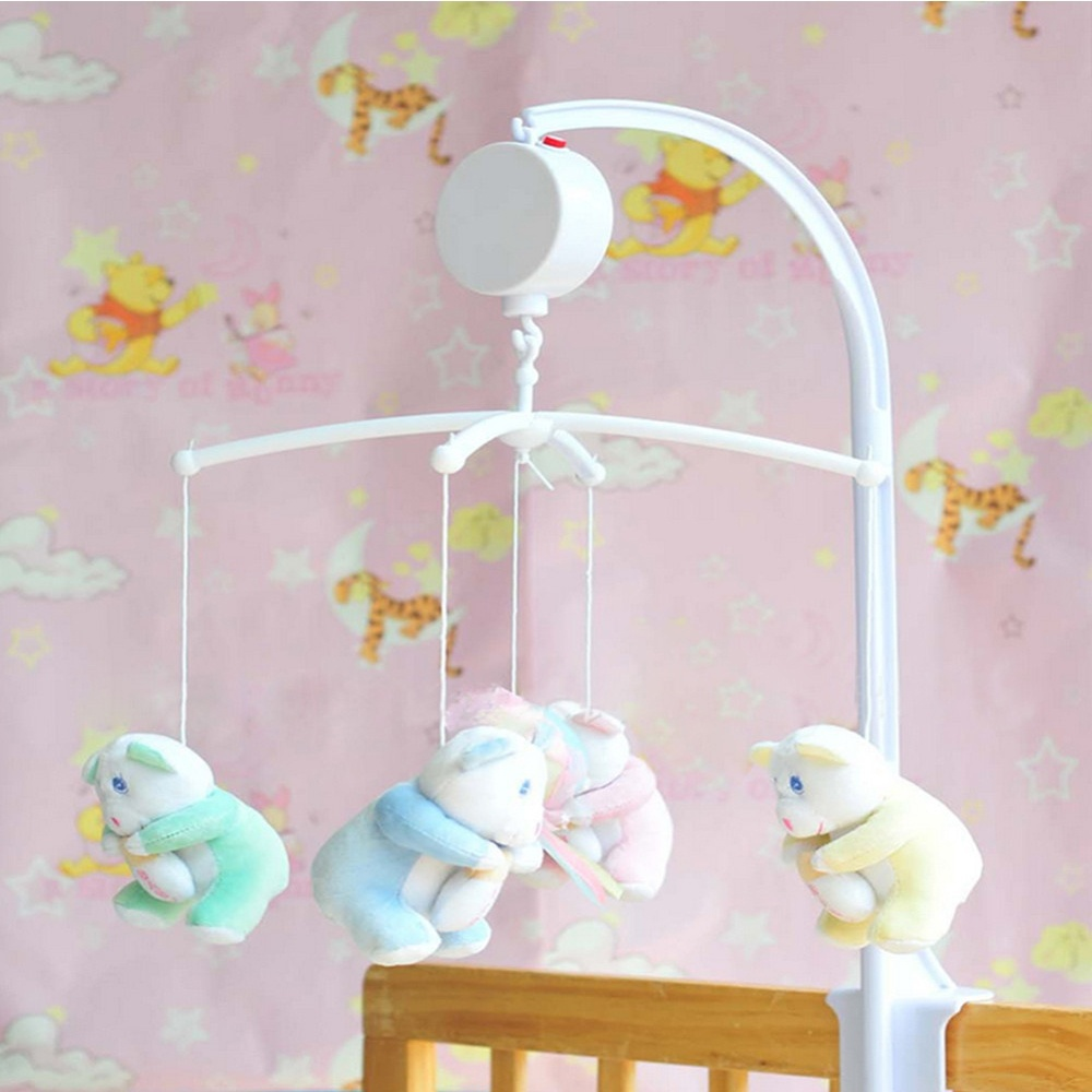 Crib music box for babies - 35 Song Rotary Newborn Baby Mobile Crib Bed Toy Clockwork Movement Music Box Baby Rattles Bed Bells Baby Toys