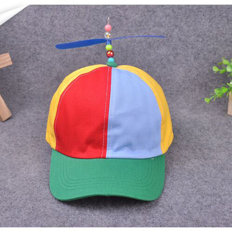 Funny Adult Child Propeller Baseball Caps Colorful Patchwork Brand Hat Propeller Bamboo Dragonfly Boy Girl Snapback Hip Hop Hat funny fishing game family child interactive fun desktop toy