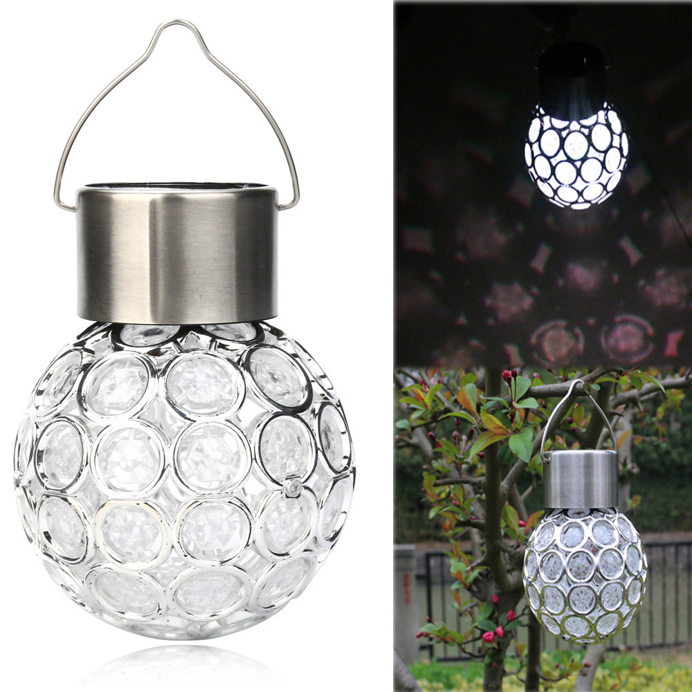 2019 New Waterproof Solar Rotatable Outdoor Garden Camping Hanging LED Round Ball Lights Hot Sale Ball Chandelier