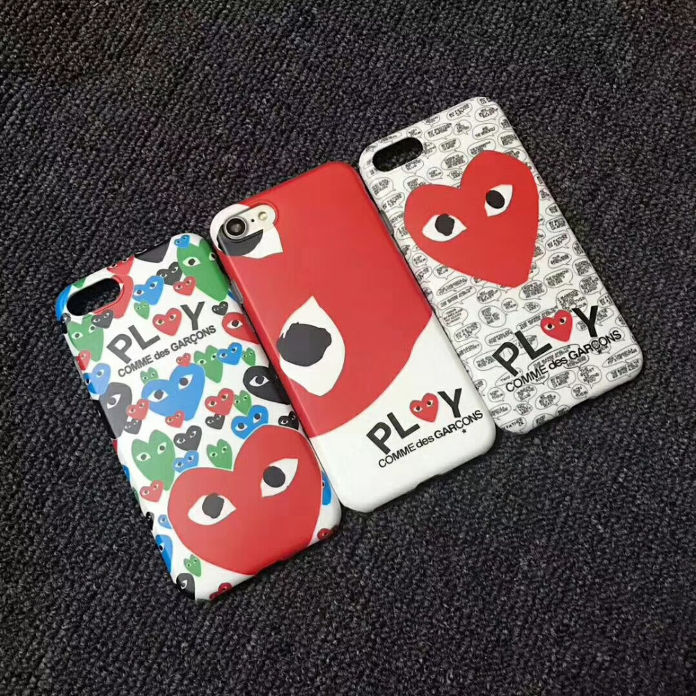 JSPYL Love CDG Play Comme des Garcons Soft Matte Protect Cover Case For iPhone X Phone Case For iPhone 7 8 Plus 6 6s Plus Capa