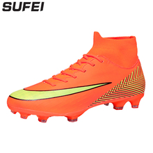 Купить с кэшбэком sufei Professional Football Boots Men 2018 FG Soccer Shoes Superfly 360 Outdoor Kids High Ankle Training Cleats Sport Sneakers