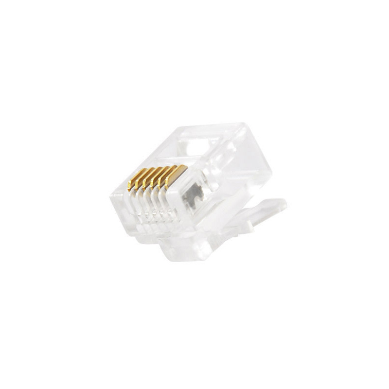 100pcs Gold-plated Copper RJ12 RJ25 Crystal Head RJ11 Connector 6 Wire 6P6C Modular Plug For CAT3 Voice Telephone Cable Adapter