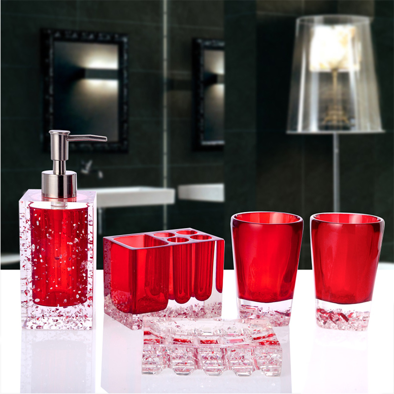 crystal Bathroom Accessory Set Toothbrush holder Lotion bottle 5PCS Creative Suite Bathroom Wash Acrylic Ware Home