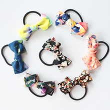 Floral Print Bow Elastic Hair Bands For Girls Boutique Bows Ponytail Holder Dots Rubber Accessories Women