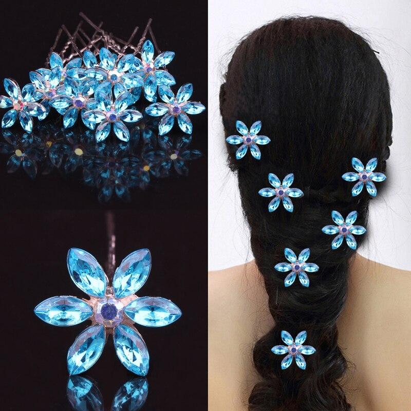 Jewelry Hair-Accessories Wedding-Hairpins Crystal Flower Rhinestone Bridal-Hair Blue