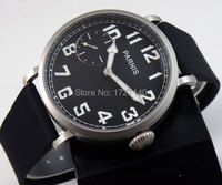 46 мм Парнис световой черный циферблат 6497 Рука обмотки каучуковый ремешок мужские часы P44