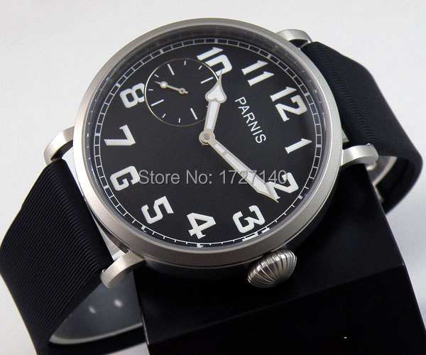 46mm parnis luminous black dial 6497 hand winding rubber strap mens watch P44 цена и фото