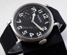 46mm parnis luminosa correa de caucho negro dial 6497 bobina de la mano reloj para hombre P44