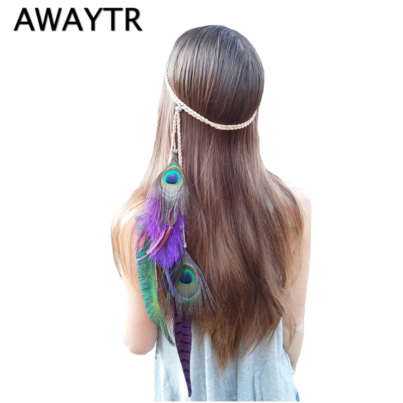 AWAYTR Bohemia Peacock Feather Headbands for Women 2019 Christmas Hair Accessories Indian Style Knitted   Headwear   Women Belt
