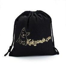 100pcs/lot Custom cotton drawstring bag Printed Logo 100pcs lot am 22a