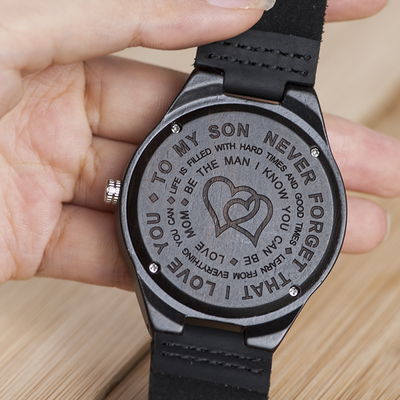 Personalized Ebony Wooden Wrist Watch for Son / Wife / Lover 12