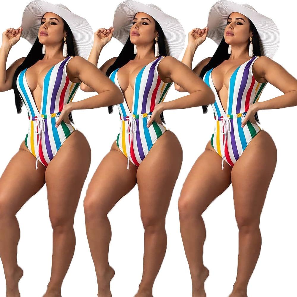 bathing suit women one piece bikini neon striped thong 1 piece halterneck deep v swim wear 2019 in Body Suits from Sports Entertainment